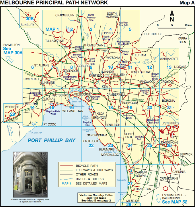 Map Of Melbourne Australia.Bike Paths